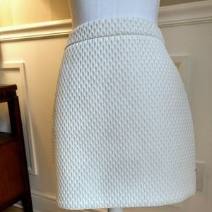 New A-line cream textured mini skirt